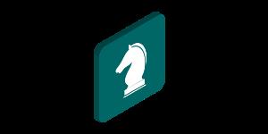 Een schaakstuk als symbool voor een merk